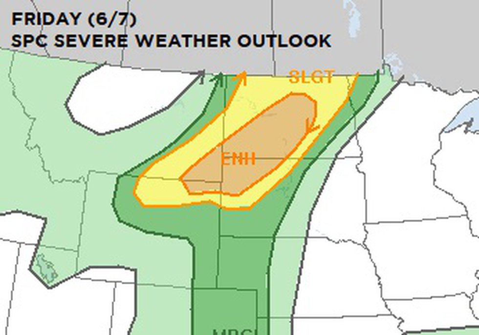 The Storm Prediction Center's severe weather outlook for the Dakotas on Friday