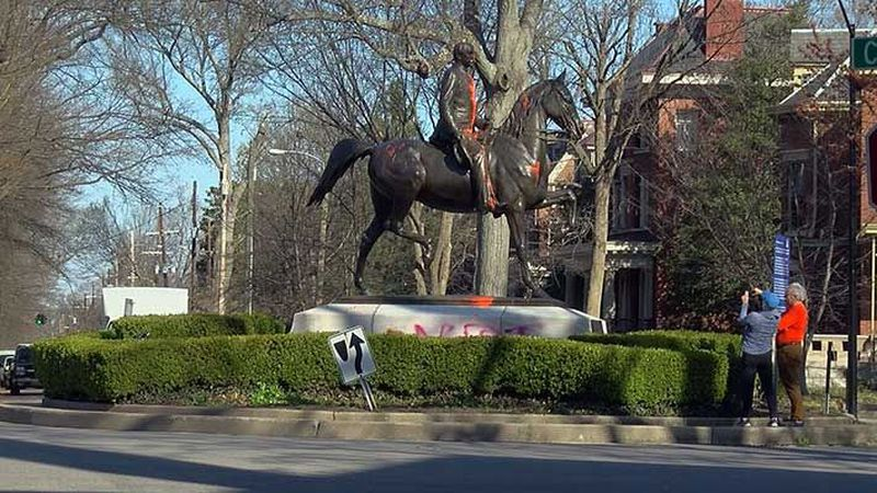 Orange paint has been thrown on the Castleman Statue on two occasions. (Source: James Thomas,...