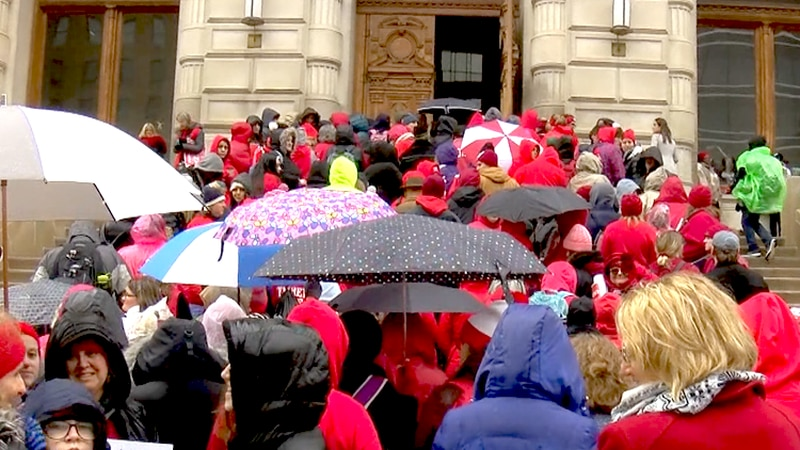 Much of Indiana called off classes to allow teachers to rally in Indianapolis.