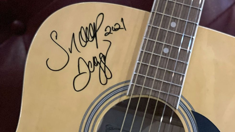 One of the autographed guitars.