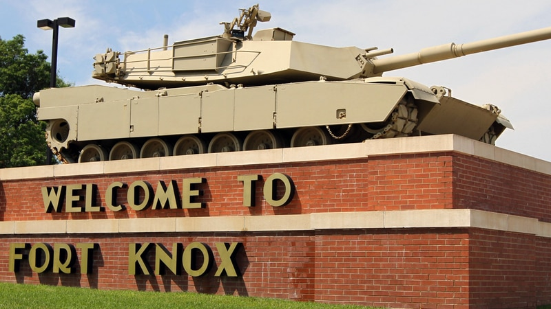 Fort Knox is a U.S. Army post in Kentucky, south of Louisville and north of Elizabethtown.