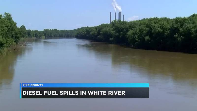 Diesel fuel released into White River in Pike Co.