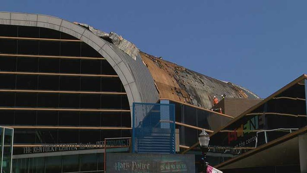 The damage to the Kentucky Center is visible from the street, and inside isn't any better....