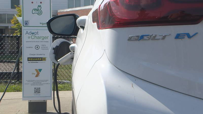 A Chevrolet Bolt charging at the Norton Commons YMCA in Louisville Kentucky, Sept. 29, 2021.
