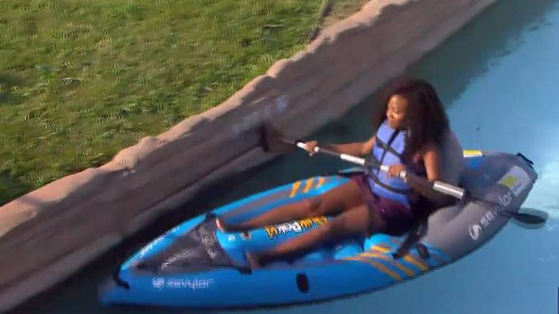 Phylicia Ashley kayaked her way down Adventure River,