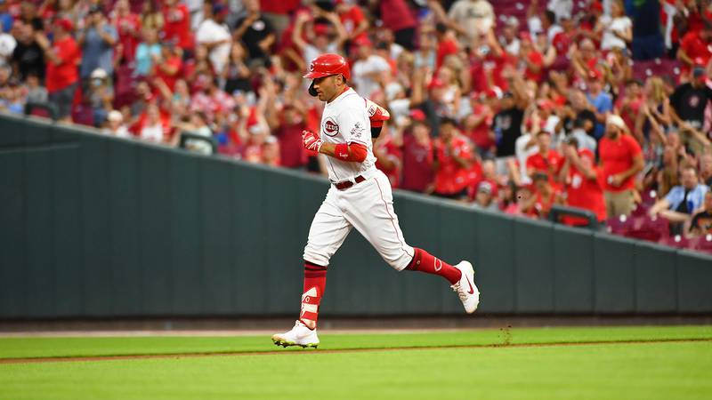 Joey Votto, the Cincinnati Reds' all-star first baseman seen in a file photo, homered in the...
