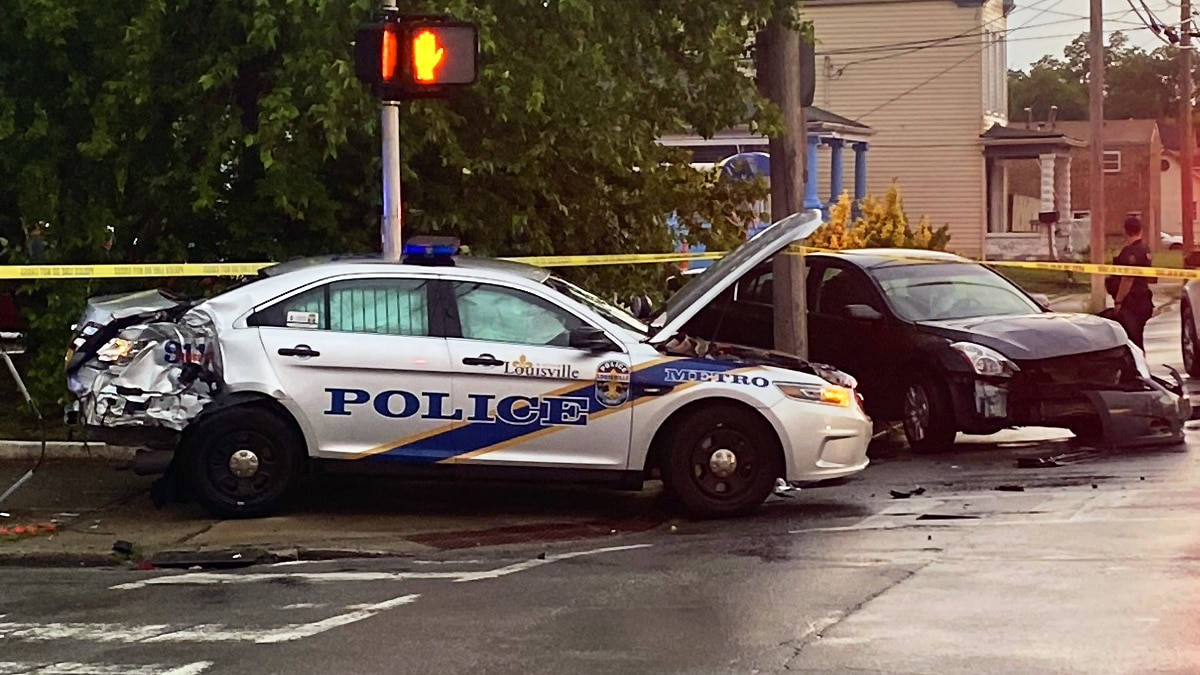 An LMPD officer was involved in a crash at South 4th Street and Winkler Avenue near the...