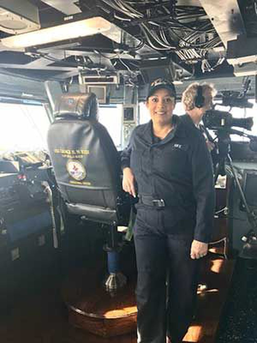 Dawne Gee in uniform aboard the U.S.S. George H. W. Bush (Source: Dawne Gee)