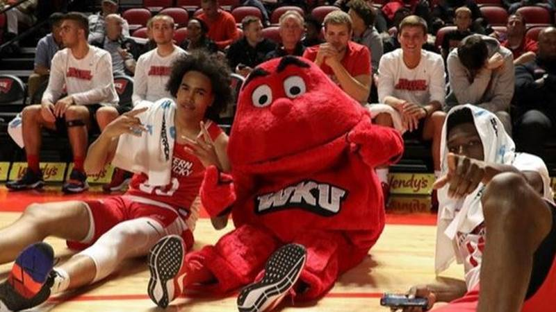 The 'Tops and Big Red participate in Hilltopper Hysteria (Source: Western Kentucky Athletics)