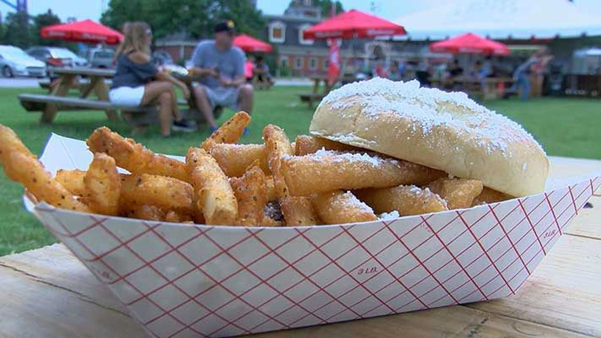Rally's funnel cake burger. (Source: Justin Hawkins, WAVE 3 News)