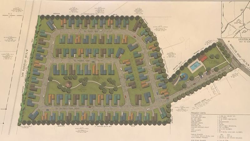 A rendering of a 95-unit affordable housing complex that would be built off of West Manslick...