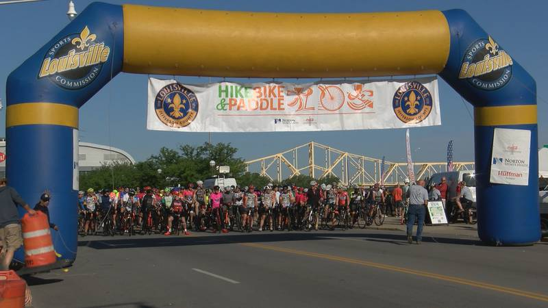 Cyclists set out to ride from Waterfront Park.