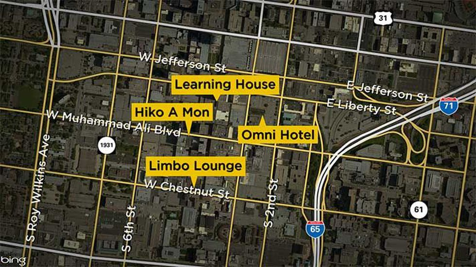 This map shows the proximity of the locations from which police say Townes stole. (Source: WAVE...