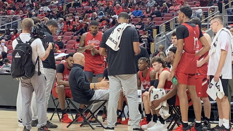 Chris Mack coaching the red squad during scrimmage