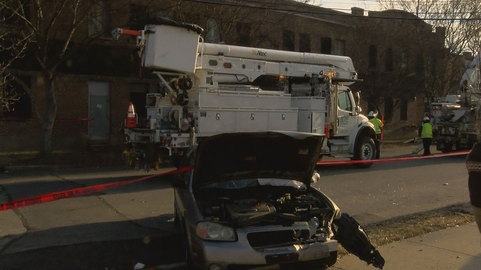 The bus hit the KFI Seating building and possibly three other vehicles. (Source: WAVE 3 News)