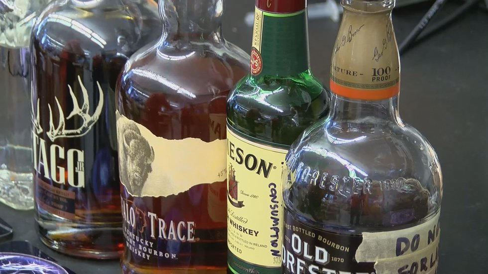 Bottles of bourbon ready for inspection.