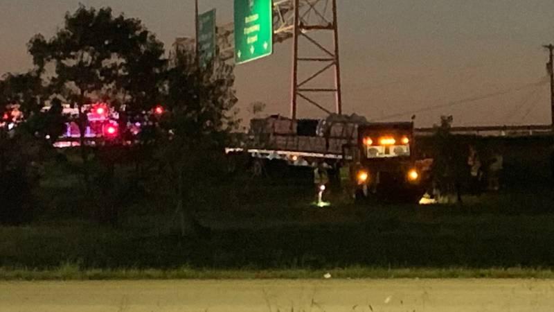 A semi-truck drove off a ramp on Interstate 65 near Preston Highway in Louisville Monday...