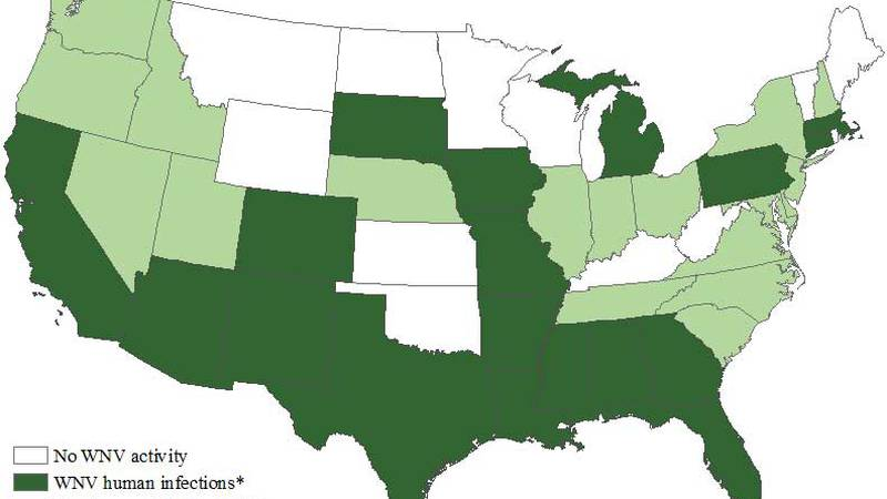 West Nile Virus Activity by State – United States, 2020 (as of September 9, 2020)