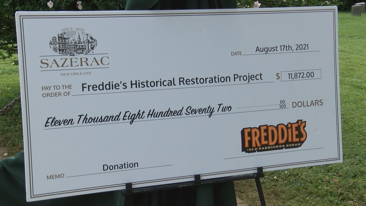 An $11,872 check was presented to Freddie's Historical Restoration Project, whose plan is to...