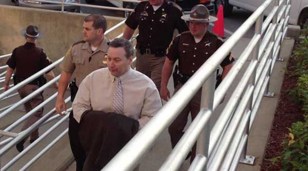 David Camm being escorted into the Boone County Courthouse on September 25.