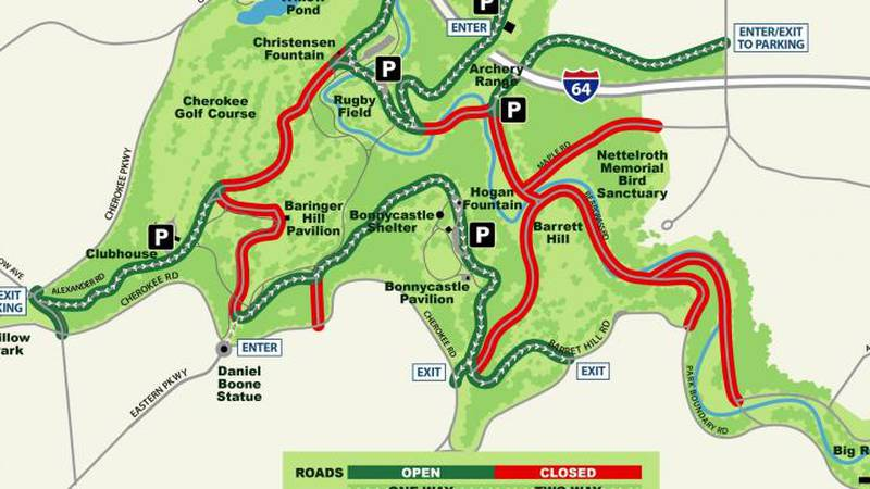 Two sections of the scenic loop in Cherokee Park have reopened to vehicles.
