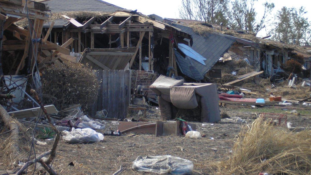 Richard Slawsky had to bulldoze his house because of damage from Hurricane Katrina (2005).
