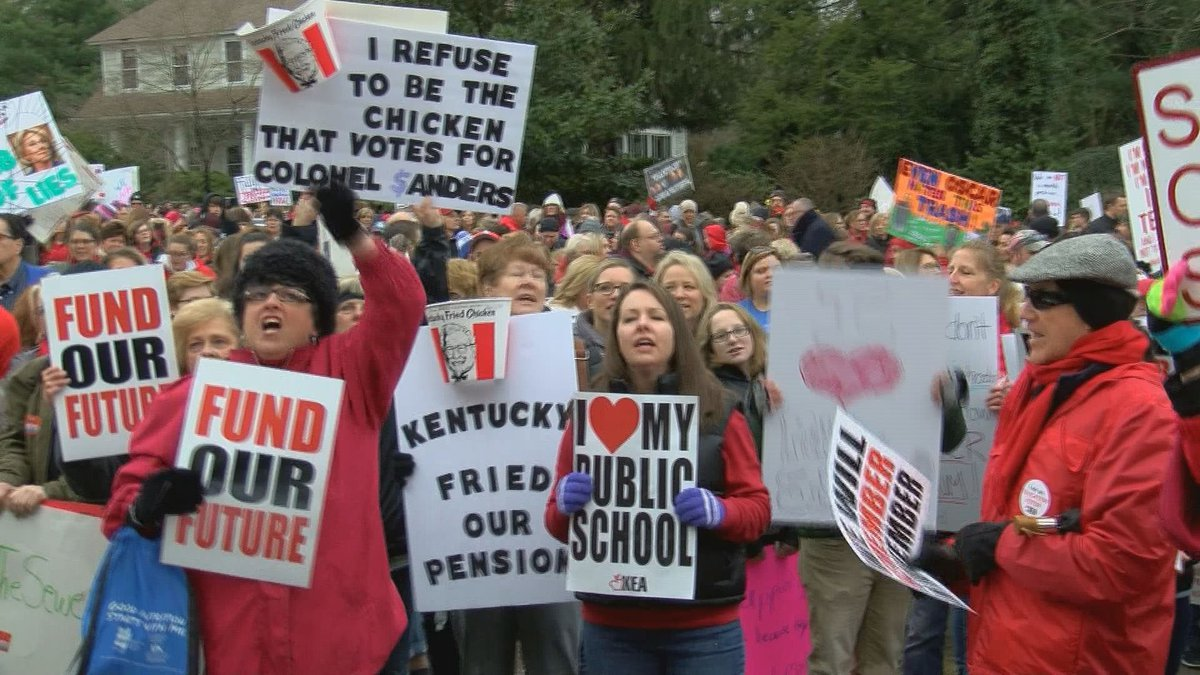 A pension rally in Frankfort earlier this year.