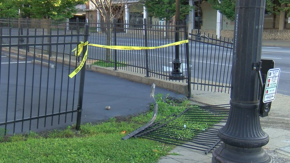 KSP said Trummer rammed his car through this fence to flee from police. (Source: WAVE 3 News)