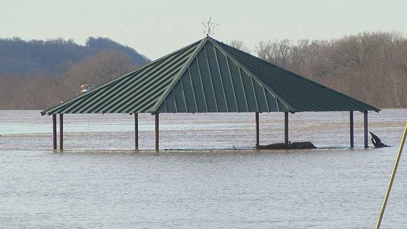 Parts of Carrollton are underwater, including the city's popular Point Park. (Source: WAVE 3...