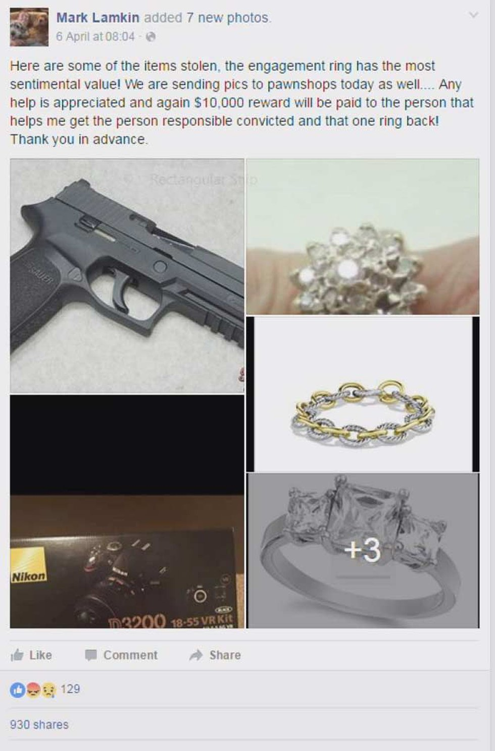Here are some of the items taken from Lamkin's home. (Source: Facebook)