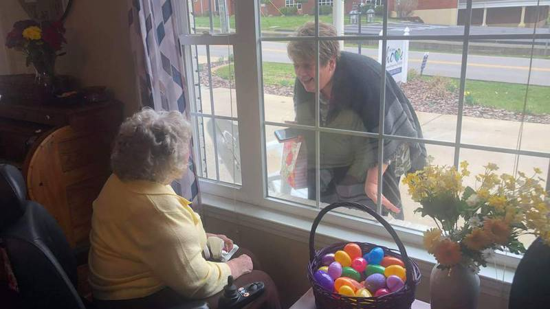 Esther Gerkins' daughter, Kathy Gerkins Veith, was able to visit with her mother outside of the...