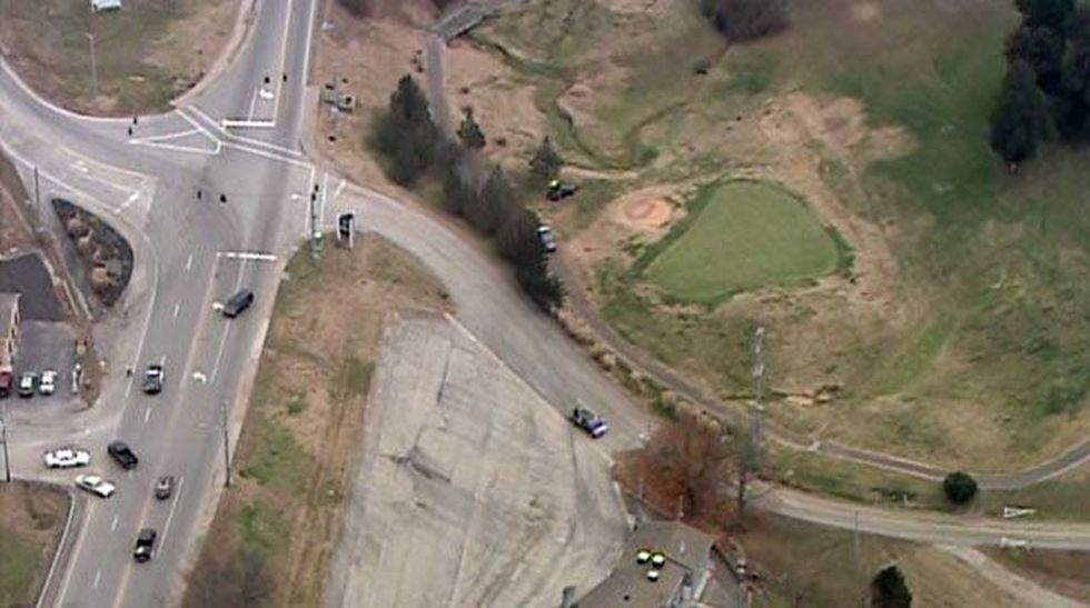 The car was next to one of the greens on the golf course. (Source: Air 3/WAVE 3 News)