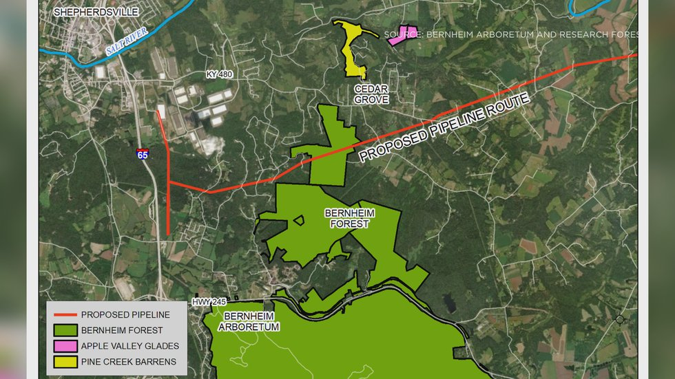 This map shows where the LG&E natural gas pipeline route would be in comparison to Bernheim's...
