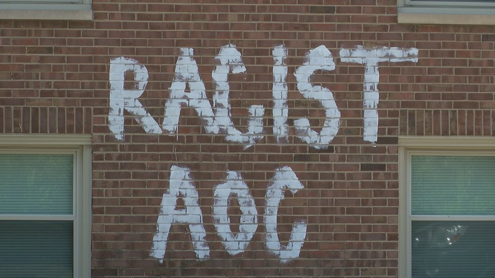 Police haven't tracked down who's responsible for spray painting phrases like this one, focused...