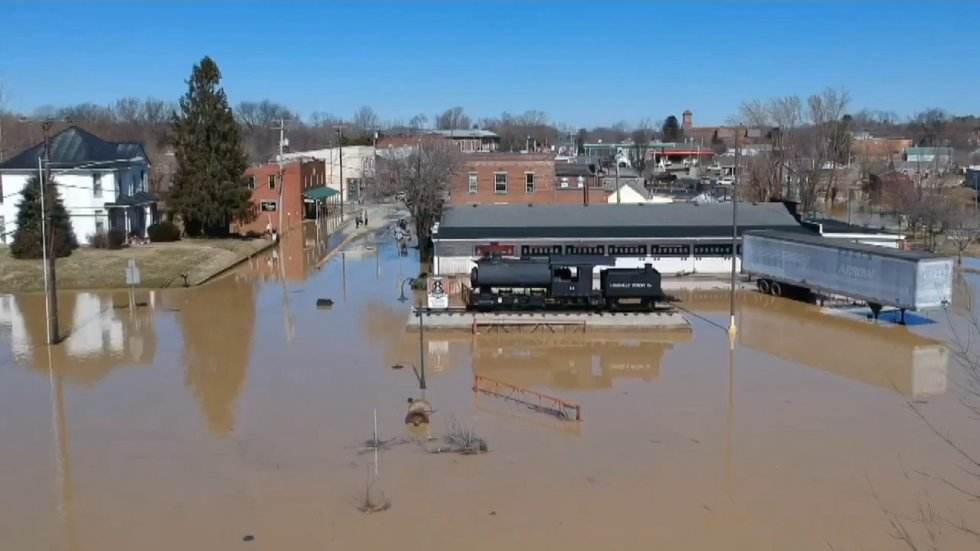 Video from the air shows the Rolling Fork flooding parts of Main Street in New Haven.