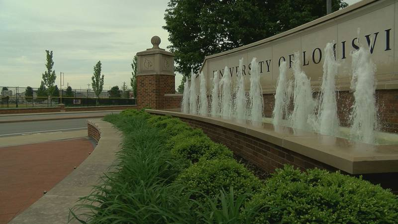 Exteriors of the University of Louisville or UofL.