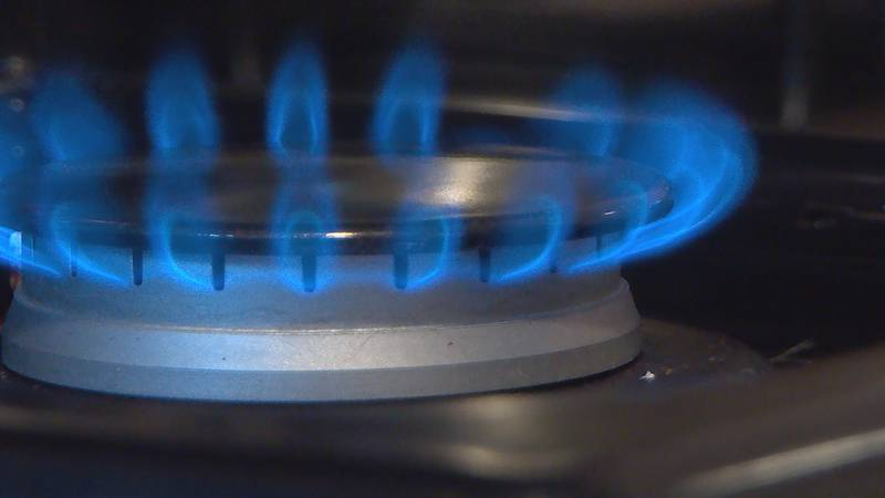 Natural gas is burned on a stove in Louisville, Kentucky on Oct 20, 2021.