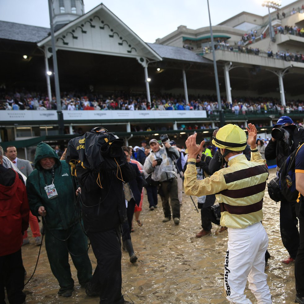 Jockey Flavien Prat reacts to the news that the Kentucky Derby result had been overturned in...