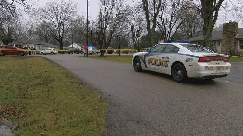 Shively police investigation underway at the scene of an officer-involved shooting on Feb. 7,...