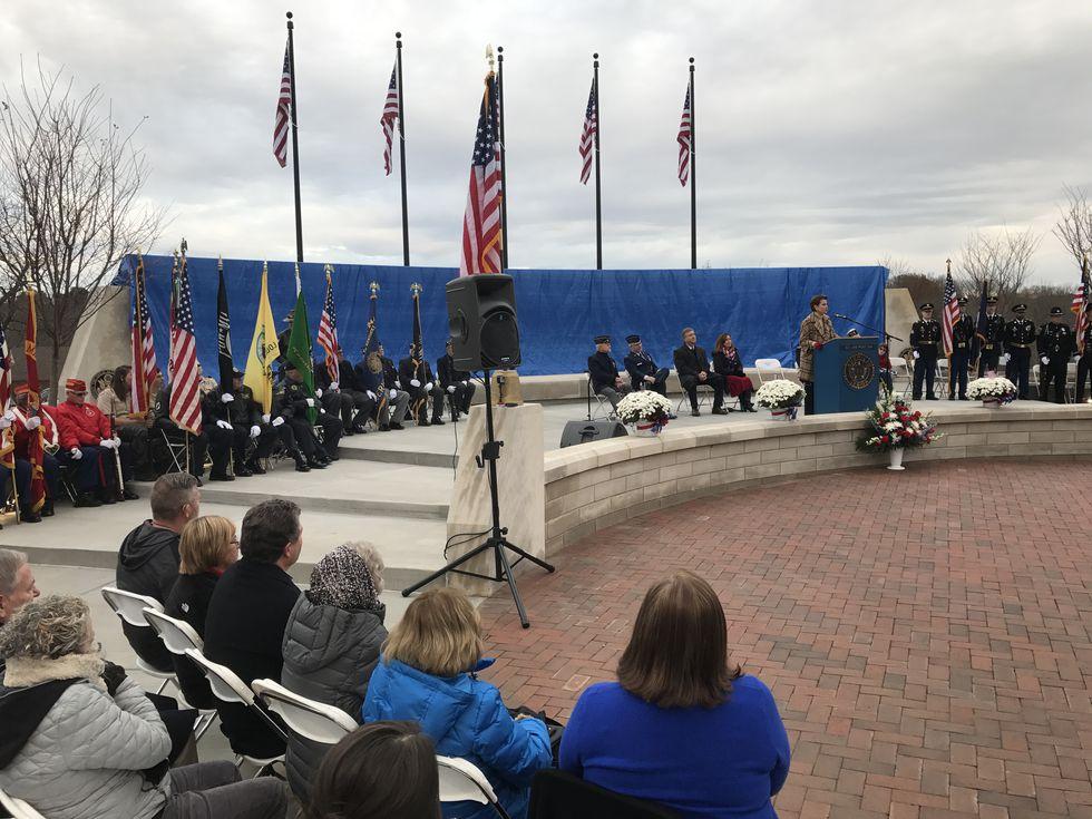 The unveiling ceremony at Veterans Memorial Park.