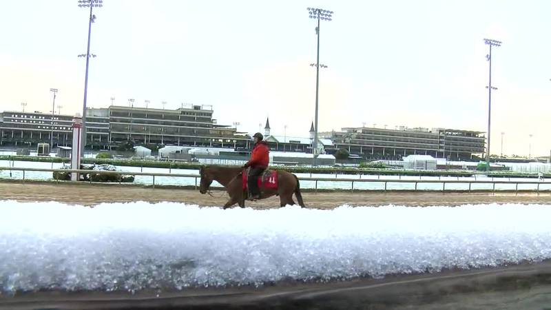 Snowy morning at Churchill Downs gets mixed reviews from trainers, horses