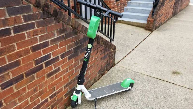 Lime electric scooter in Charlottesville (FILE)