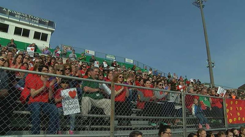 The Meade County community gathered to rally behind teachers on Wednesday afternoon. (Source:...