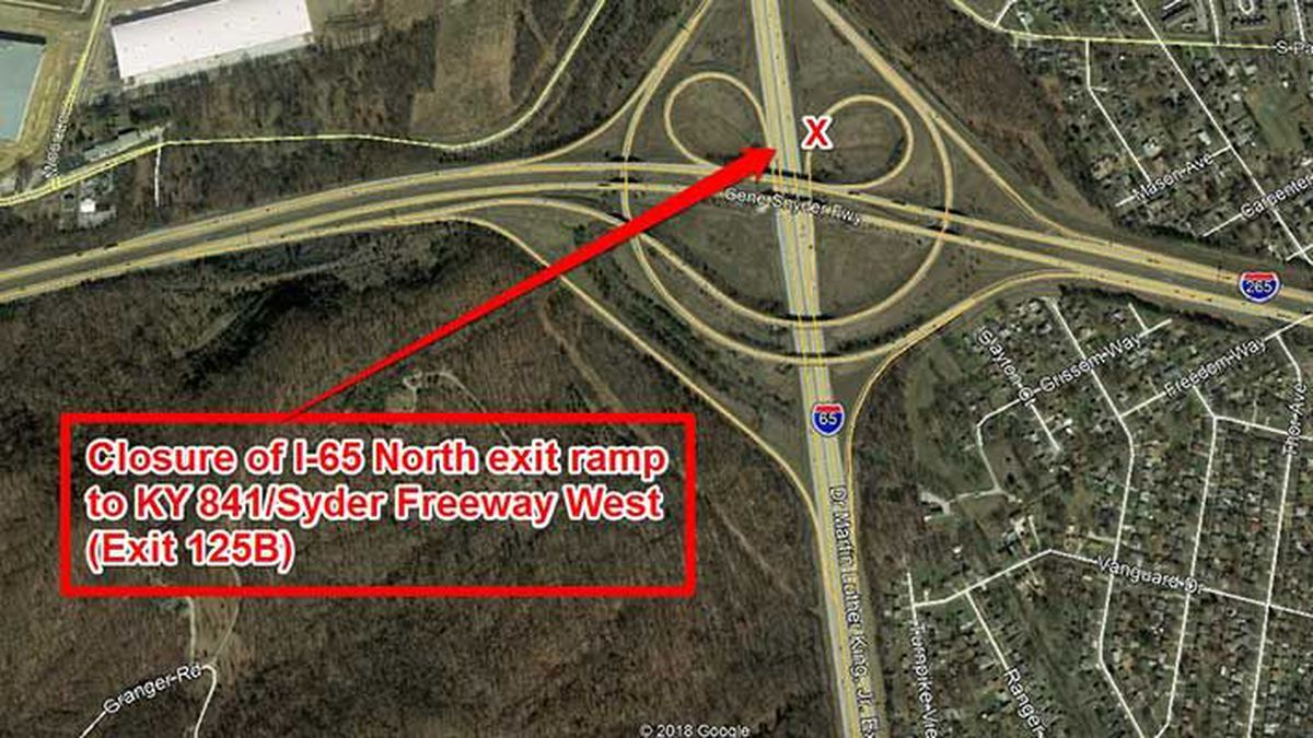 The ramp from I-65 North to KY 841 West (Gene Snyder Freeway) will be closed from Friday night...