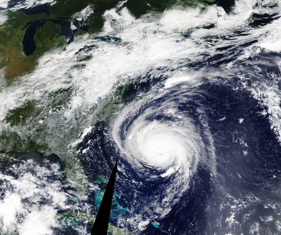 Hurricane Florence approaching the United States' eastern coast.