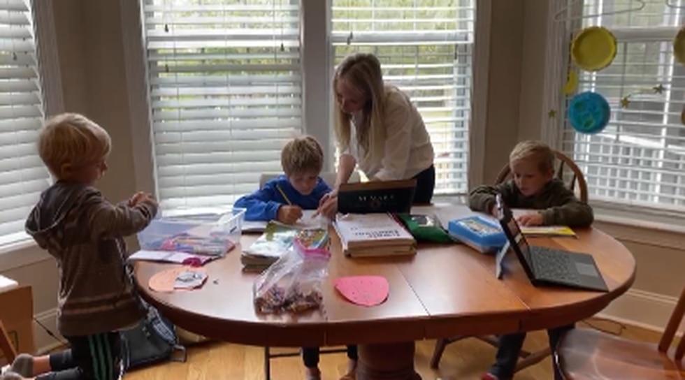Danielle Karabin balancing home schooling three boys while working full time during Coronavirus...