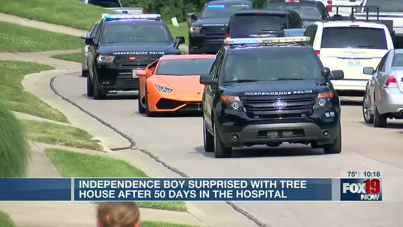 Independence boy surprised with tree house after 50 days in the hospital