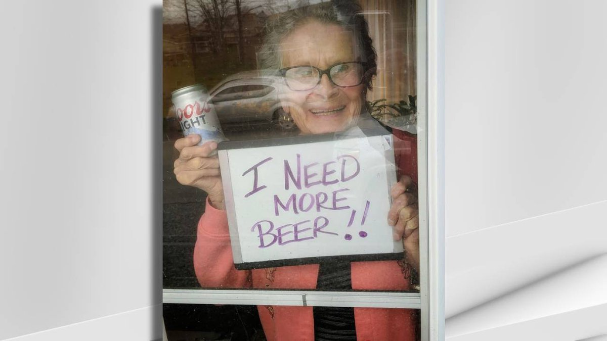 Olive Veronesi and her sign went viral during the coronavirus outbreak.