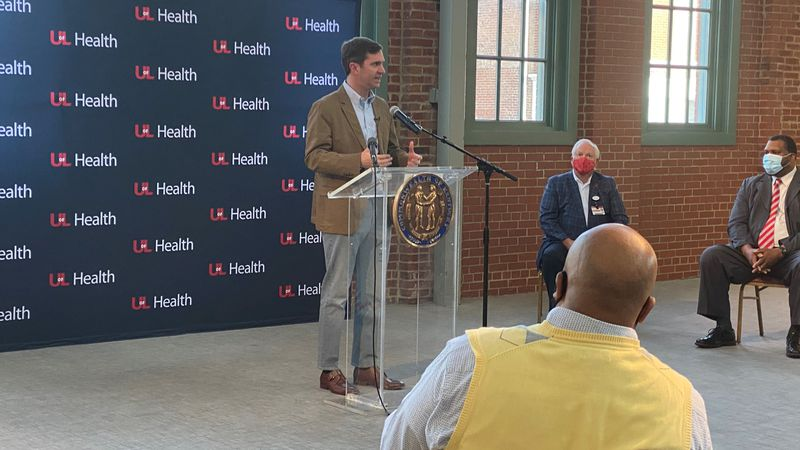 Gov Beshear at UofL's largest vaccine clinic