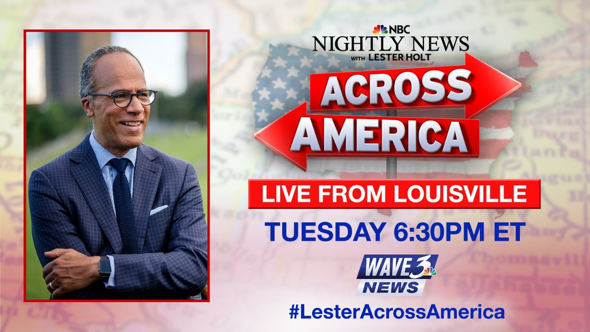 """NBC News anchorman Lester Holt will anchor """"Nightly News"""" from Louisville on Tuesday."""